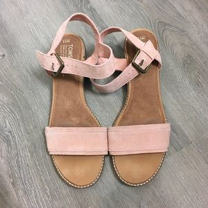 Toms Camila Pink Leather Sandals 11